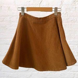 American Apparel Corduroy High Waisted Circle Skater Mini Skirt Brown Tan